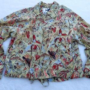 Xriss Xross Silk 90s Zip front Yellow Jacket